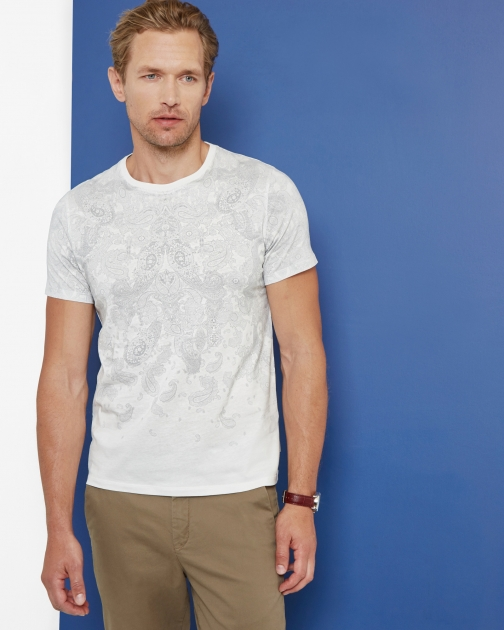 Ted Baker Paisley Graphic Cotton Ecru T-Shirt