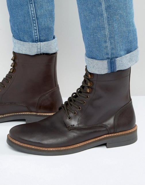 Frank Wright Lace Up Brown Leather Boot