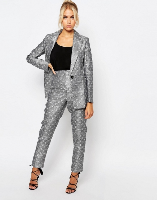 Fashion Union Tile Print Co-Ord Suit Trouser