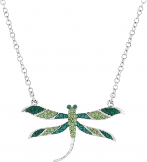 Aurora Flash Rhodium Plated Green Dragonfly Necklace