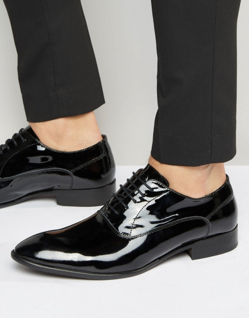 Base London Holmes Leather Hi-Shine Oxford Shoes