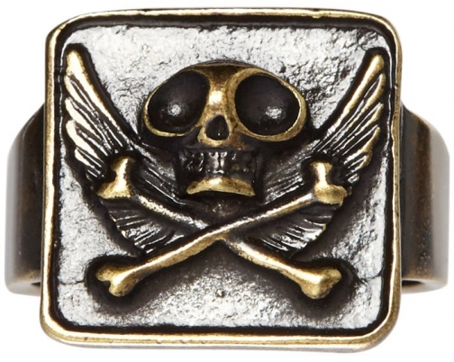 House Of Fraser Noose And Monkey Gold Square Face With Skull And Wings Ring