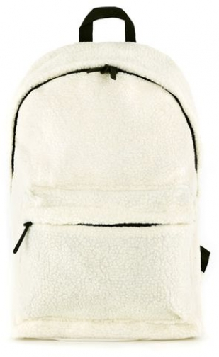 Topman Mens White Cream Faux Shearling , White Backpack