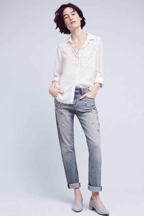 Pilcro Bejewelled Mid-Rise Jeans