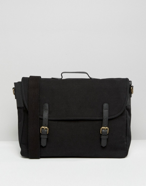 Asos Black Canvas With Leather Straps Satchel