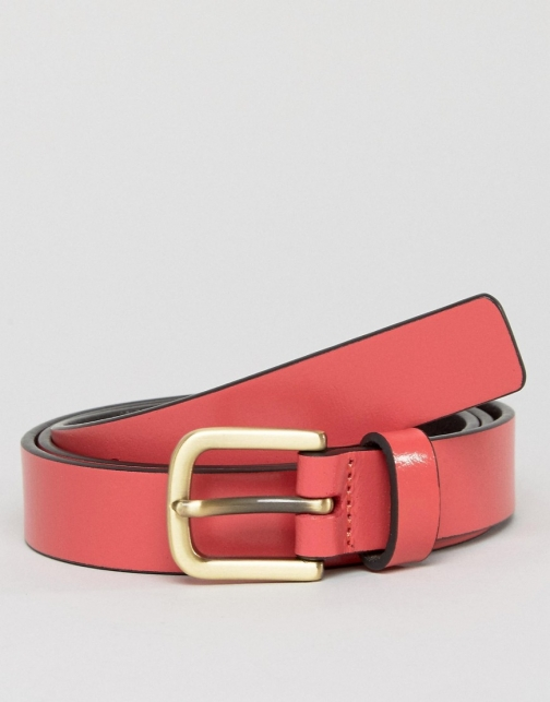 Asos Smith And Canova Skinny Leather Pink Belt
