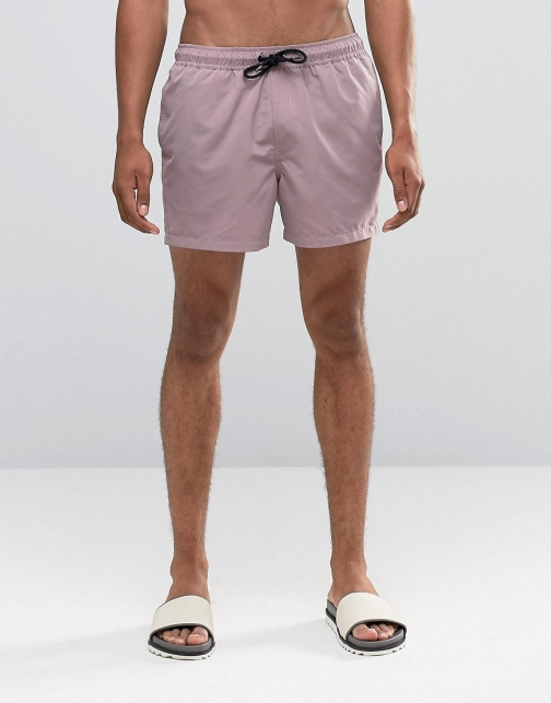 Asos Dusty Pink Short Length Swim Short