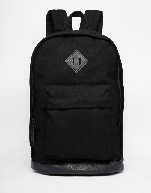 Asos College Black Canvas Backpack