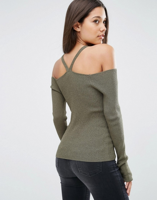 Asos With Strappy Cold Shoulder Jumper