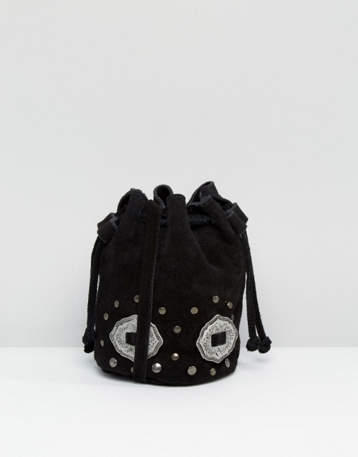 Asos Suede With Western Metal Trims Duffle Bag