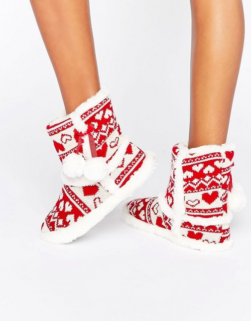 Asos Boux Avenue Red Fairisle Christmas Bootie Slipper