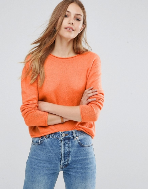Asos Cropped With Rolled Edge Detail Fluffy Yarn Jumper