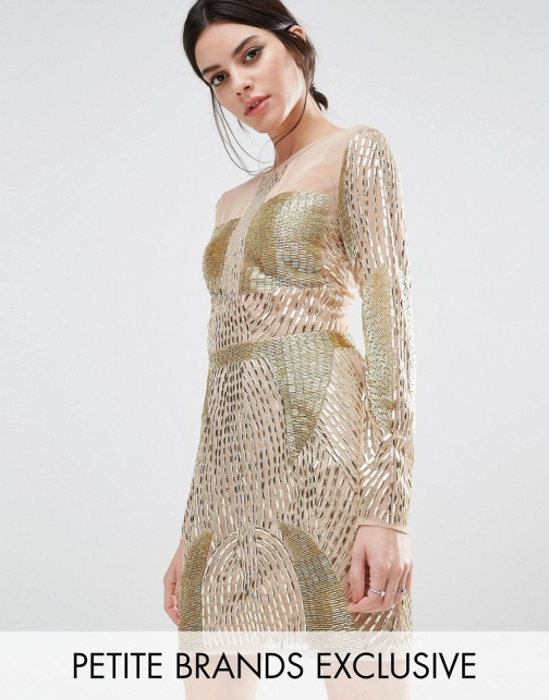 Asos Maya Petite Long Sleeve Gold Embellished Mini Dress