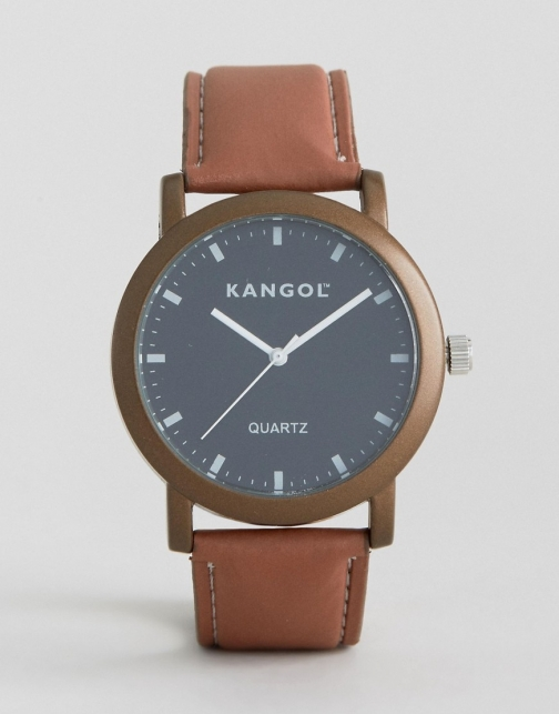 Kangol Tan With Round Black Dial Watch