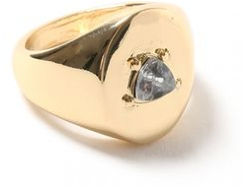 Topman Mens Gold Look Crystal Inlay Oval *, GOLD Ring