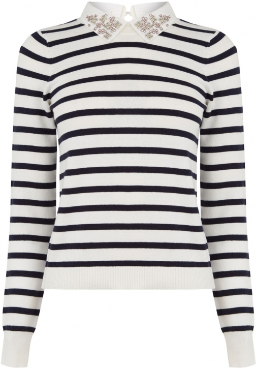 Oasis Stripe Embellished Knit Collar