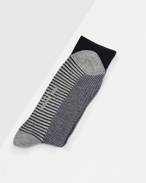 Ted Baker Striped Socks Grey