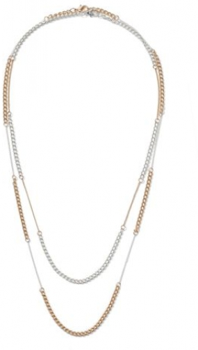 Topman Mens SILVER Mixed Metal Multi Row Chain *, SILVER Necklace