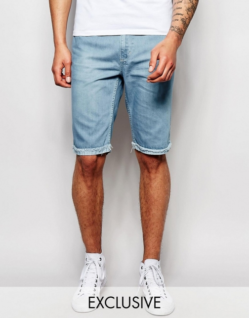 Brooklyn Supply Co. Brooklyn Supply Co Slim Raw Hem Light Stonewash Denim Short
