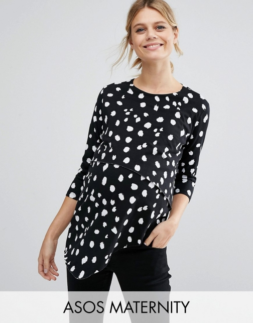 Asos Maternity NURSING Asymmetric With Double Layer Mono Leopard Top