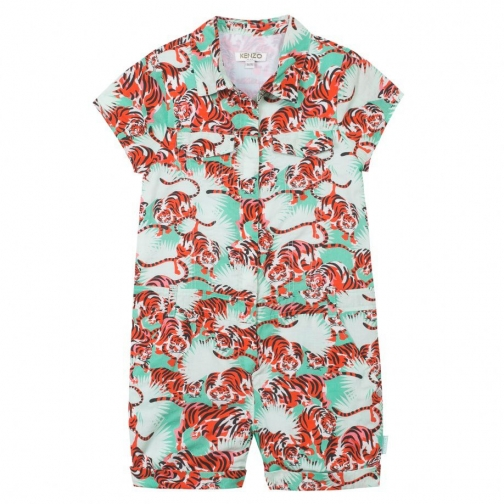 Kenzo Girls Green `Jungle` Theme Playsuit