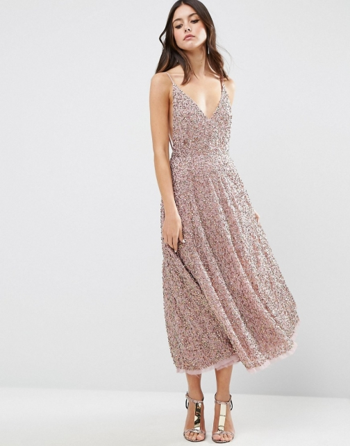 Asos All Over Embellished Distressed Hem Midi Dress