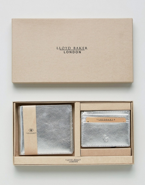 Asos Lloyd Baker Metallic Leather And Card Holder Set Wallet