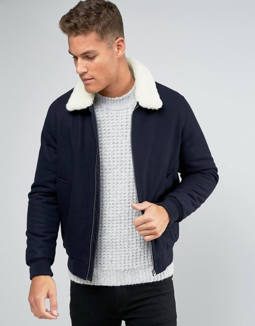 Asos Wool Mix With Borg Collar Navy Bomber Jacket