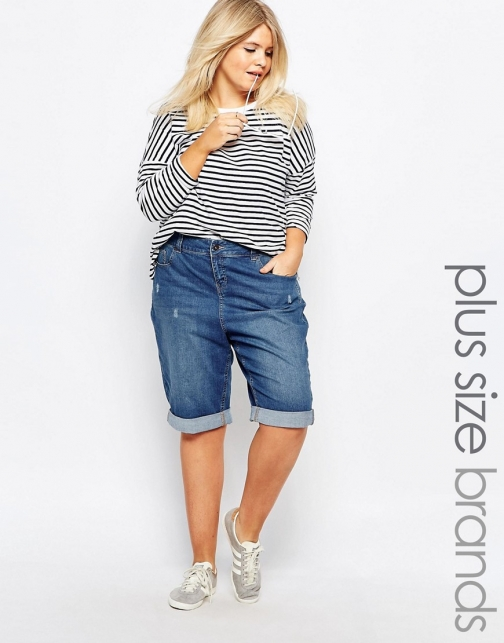Asos New Look Plus Denim Knee Short