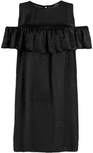 Dorothy Perkins Womens **Quiz Satin Frill Cold Shoulder - Black Dress