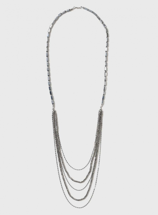 Dorothy Perkins Womens Silver Facet Drape - Grey Necklace
