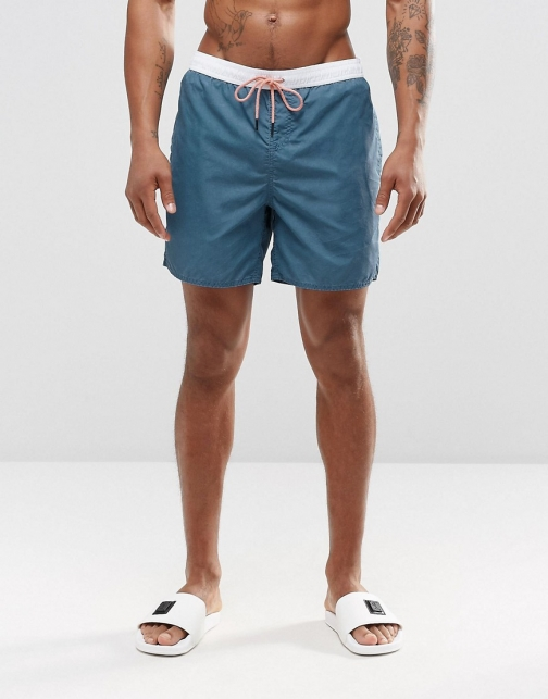 New Look Blue With Contrast Waistband Swim Short