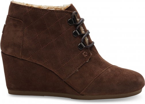 Toms Chocolate Brown Water Resistant Suede Women's Desert Wedge