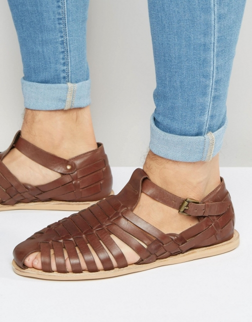 Dune Leather Brown Sandal