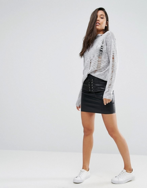 Missguided Eyelet Lace Up Leather Look Mini Skirt