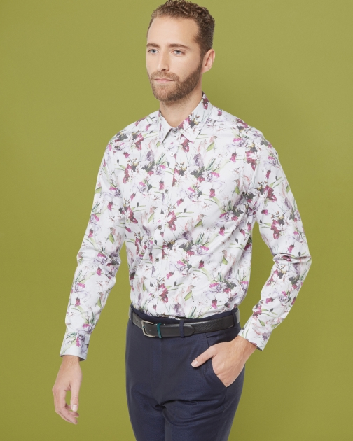 Ted Baker Floral Print Cotton White Shirt