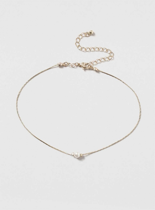 Dorothy Perkins Womens Gold Chain Choker With Pearl- Cream Necklace