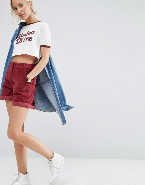 Asos Cord Tailored Oxblood Short
