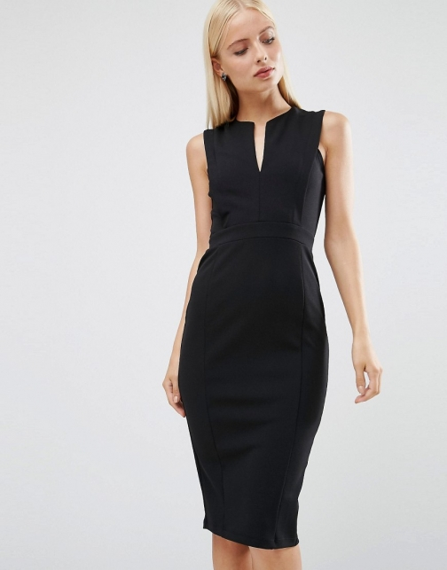 Asos With Plunge Neckline Pencil Dress