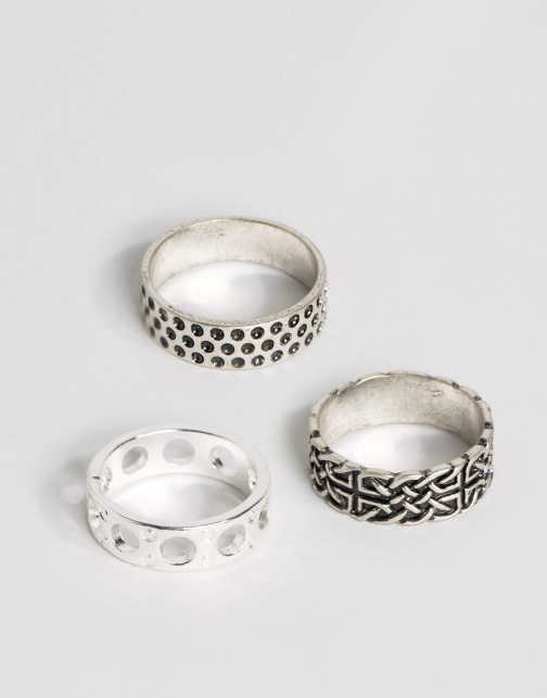 Asos Pattern Pack Burnished Finish Ring