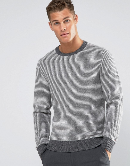 Tommy Hilfiger With Fine Stripe Grey Jumper