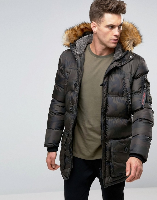 Asos 11 Degrees With Faux Fur Hood Parka