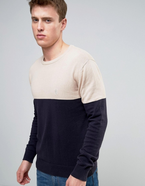 French Connection Crew Neck Colour Block Knitted Jumper