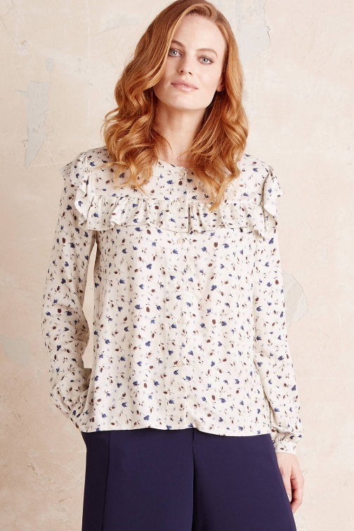 Anthropologie Vera Ruffled , White Blouse