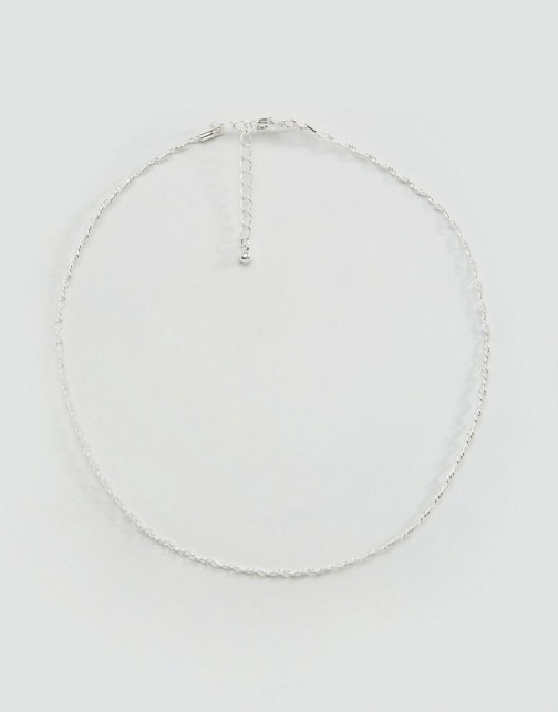 Asos Metal Choker Silver Necklace