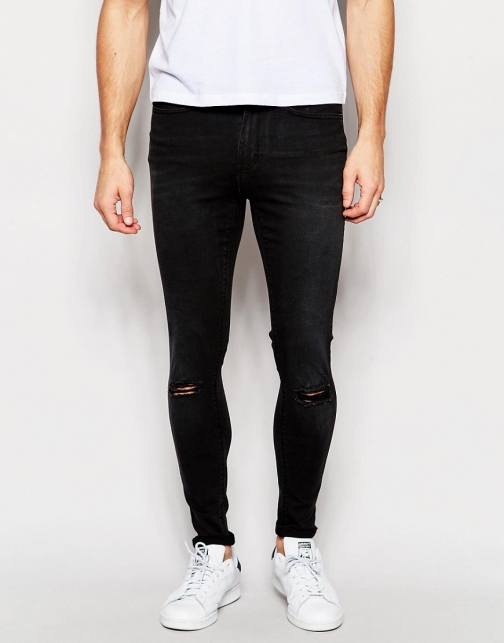 Wåven Waven Royd Extreme Super Skinny Fit Mid Rise Knee Rips Vintage Black Jeans