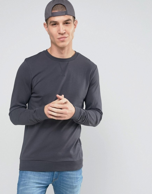 Asos Lightweight Muscle Navy Sweatshirt