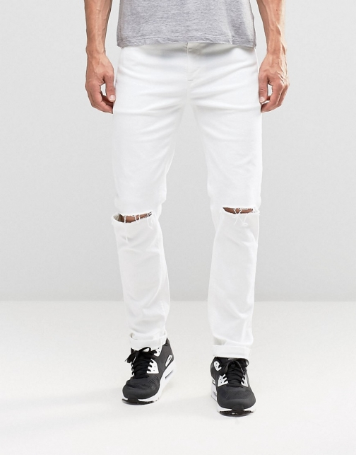 Asos Stretch With Knee Rips White Slim Jeans