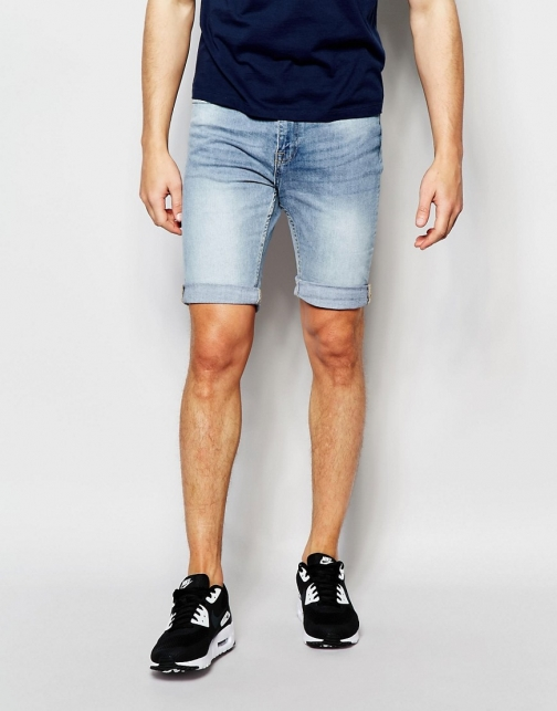 New Look Skinny Bleached Blue Denim Short