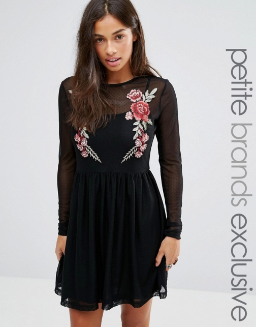 Asos Glamorous Petite Mesh With Floral Embroidery Skater Dress
